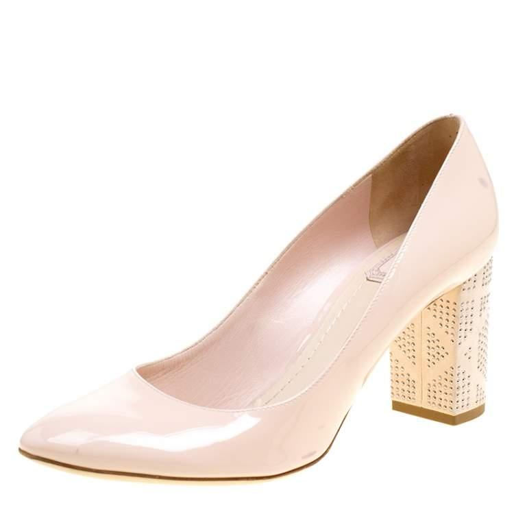 Suede Block Heel Pumps Size 39.5 Dior