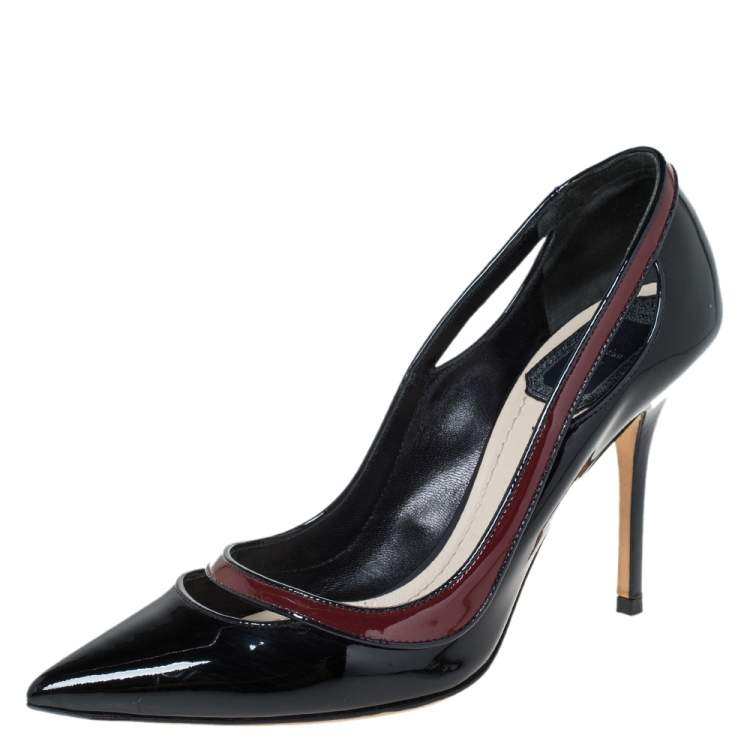 Dior Black/Red Patent Leather Cut Out Pointed Toe Pumps Size 36