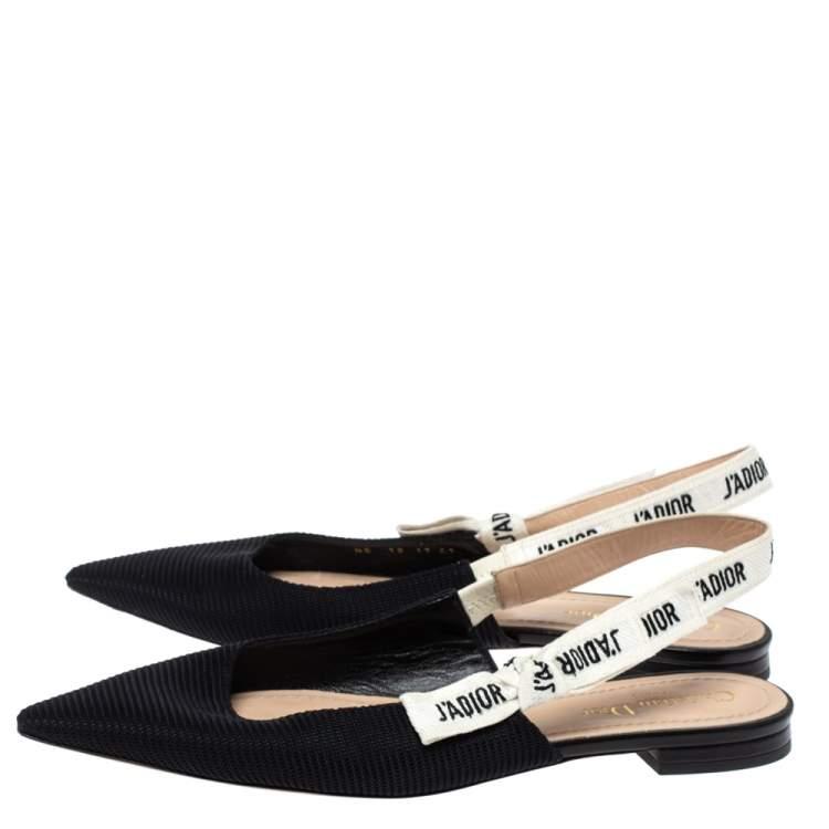 Dior Black Technical Fabric And J Adior Ribbon Pointed Toe Slingback Flats Size 41 Dior Tlc