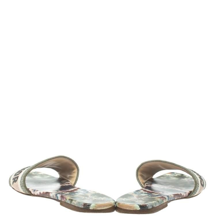 Dior Multicolor Canvas Dway mule Sandal Size 37.5