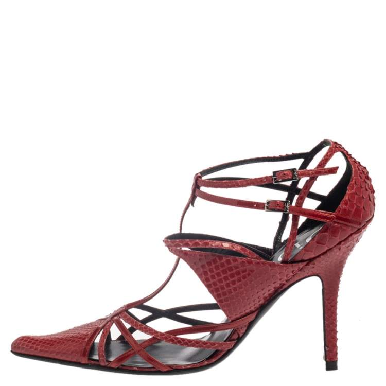 Dior Red Python Strappy Pointed Toe Pumps Size 38