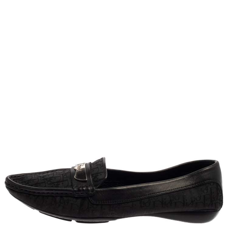 Dior Black Monogram Canvas And Leather Pointed Toe Loafers Size 38.5