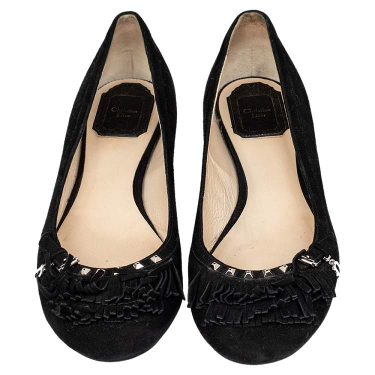 Dior Black Suede Fringe Detail Ballet Flats Size 38