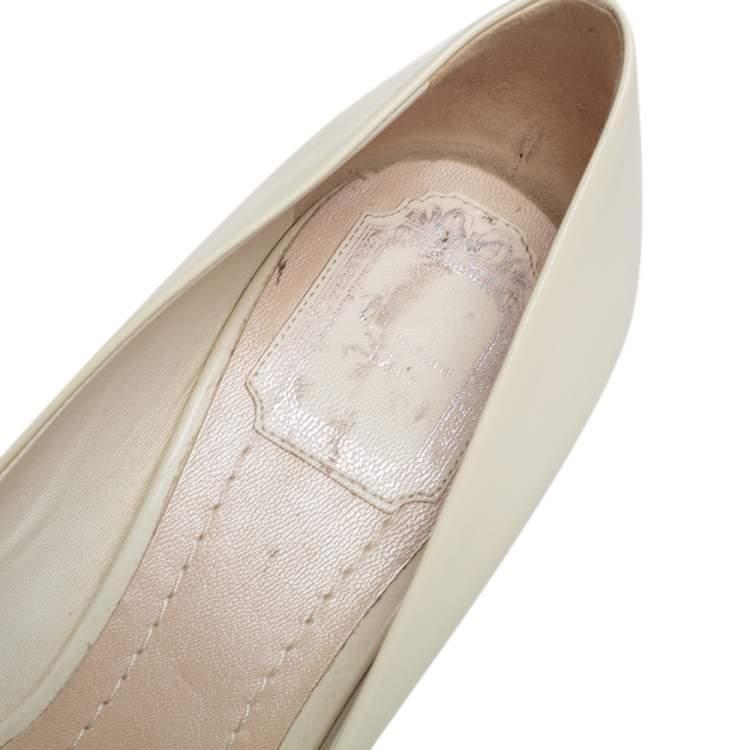 Dior Cream Patent Leather Buckle Block Heel Pumps Size 37.5