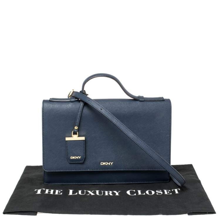 DKNY Navy Blue Leather Top Handle Bag