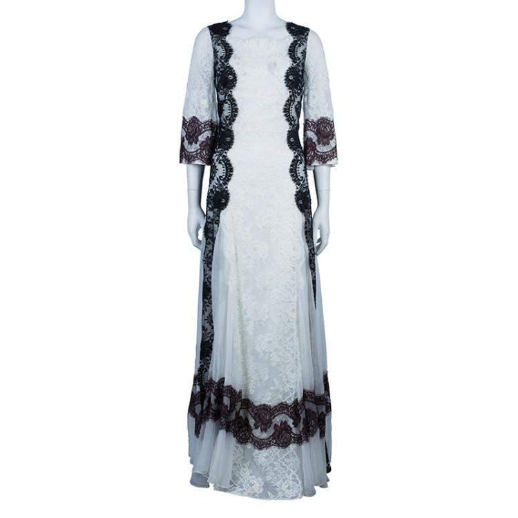 Dolce & Gabbana White Lace Detail Gown M