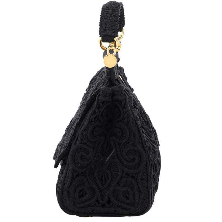 Dolce & Gabbana Black Cordonetto Lace Sicily Medium Bag