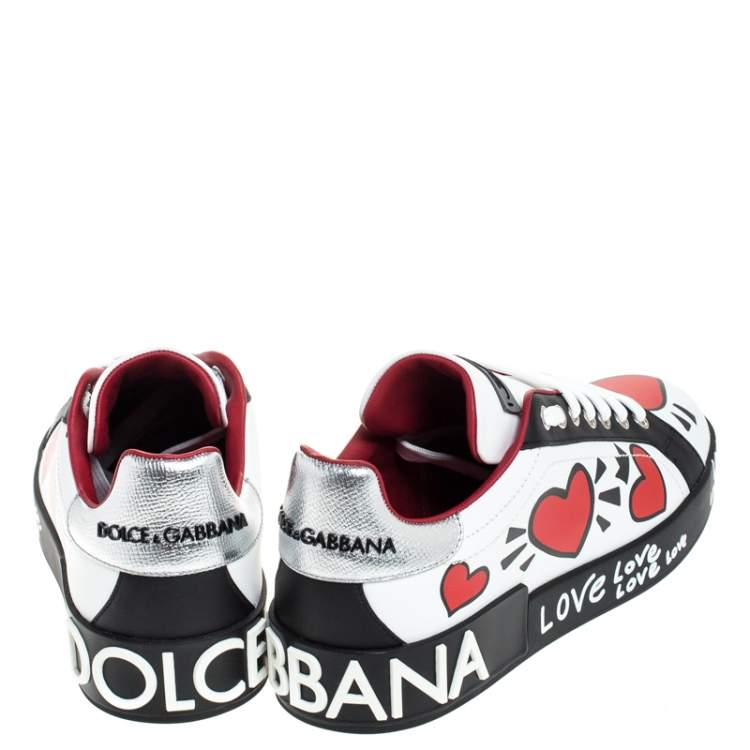 Dolce & Gabbana Multicolor Leather Portofino Heart Print Low Top Sneakers Size 40