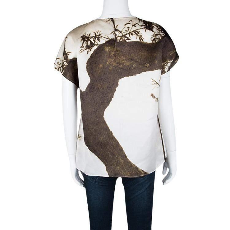 Dolce & Gabbana Spring'14 Digital Greek Temple Print Silk Top L