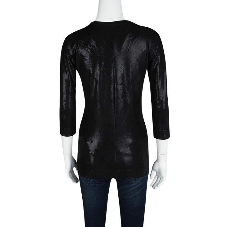 Dolce & Gabbana Metallic Black Long Sleeve Stretch Top M