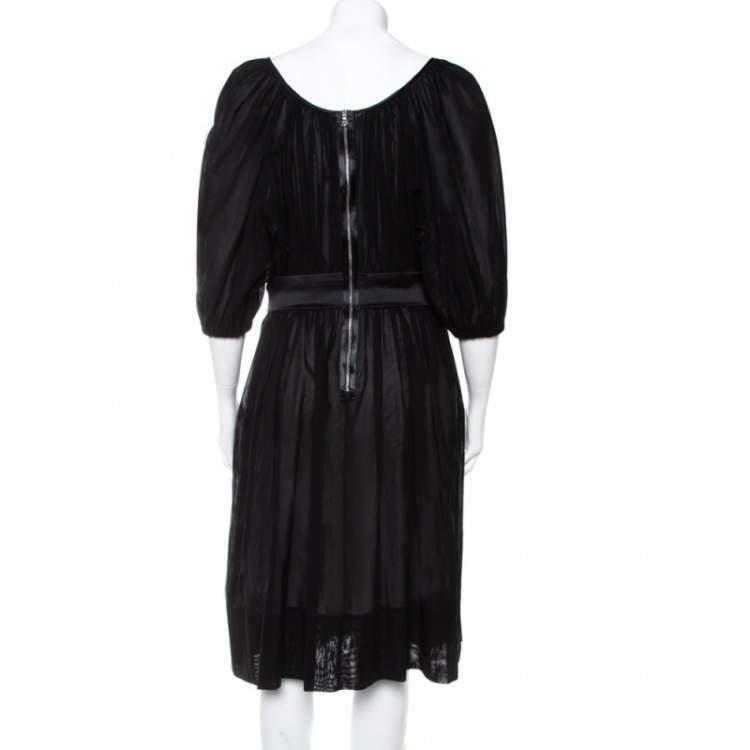 Dolce & Gabbana Black Cotton Belt Detail Flared Midi Dress M