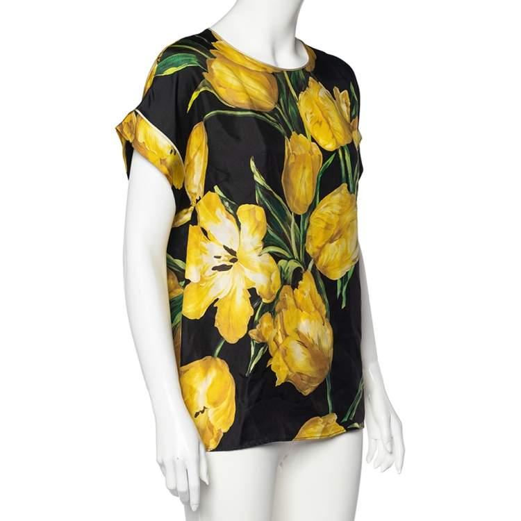 Dolce & Gabbana Black Tulip Printed Silk Top M