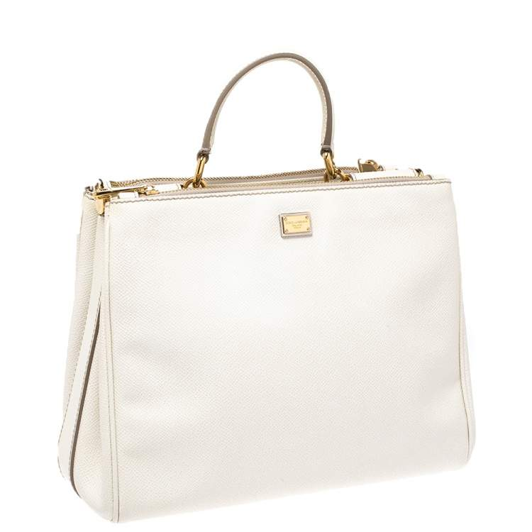 Dolce & Gabbana White Leather Miss Sicily Double Zip Top Handle Bag