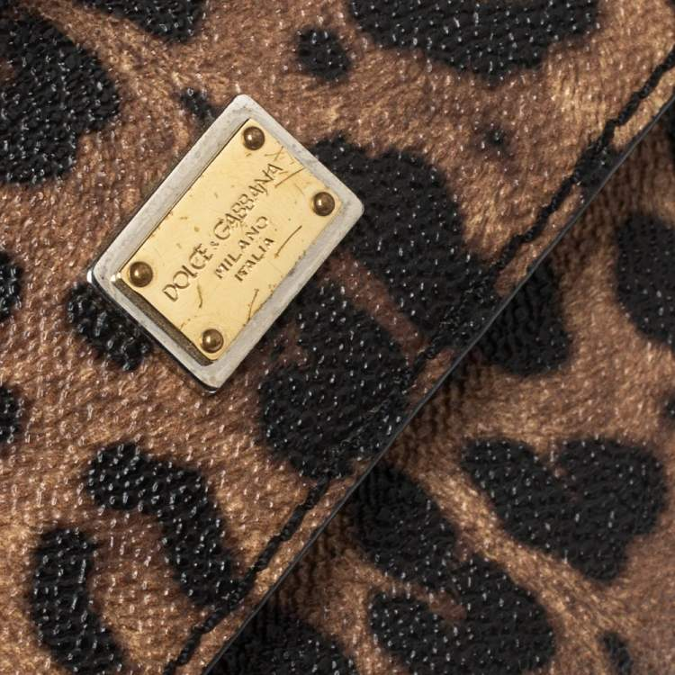 Dolce & Gabbana Black/Leopard Print Coated Canvas and Leather Small Miss Sicily Top Handle Bag