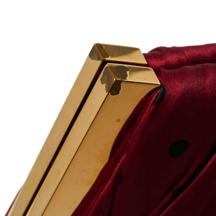 Dolce & Gabbana Red/Black Polka Dot Fabric Frame Clutch
