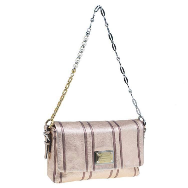 Dolce & Gabbana Metallic Pink Leather Miss Charles Shoulder Bag