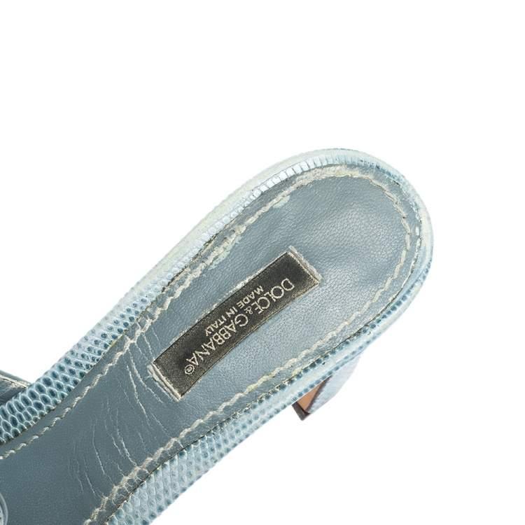 Dolce & Gabbana Light Blue Embossed Lizard Leather Crystal Embellished Sandals Size 37