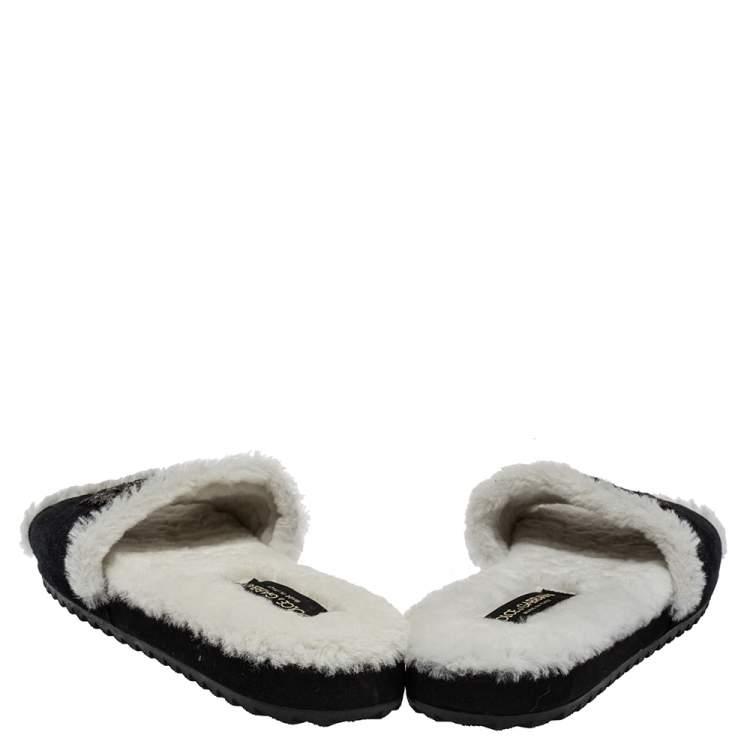 Dolce & Gabbana Black/White Suede And Fur Embellished Flat Slides Size 40.5