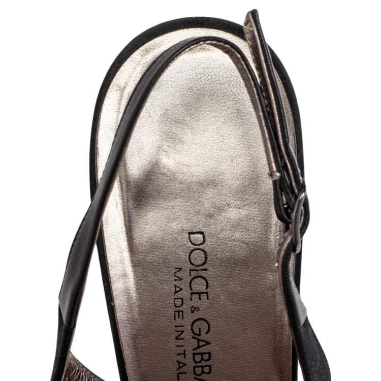 Dolce & Gabbana Black Satin Embellished Pointed Toe Slingback Sandals Size 38