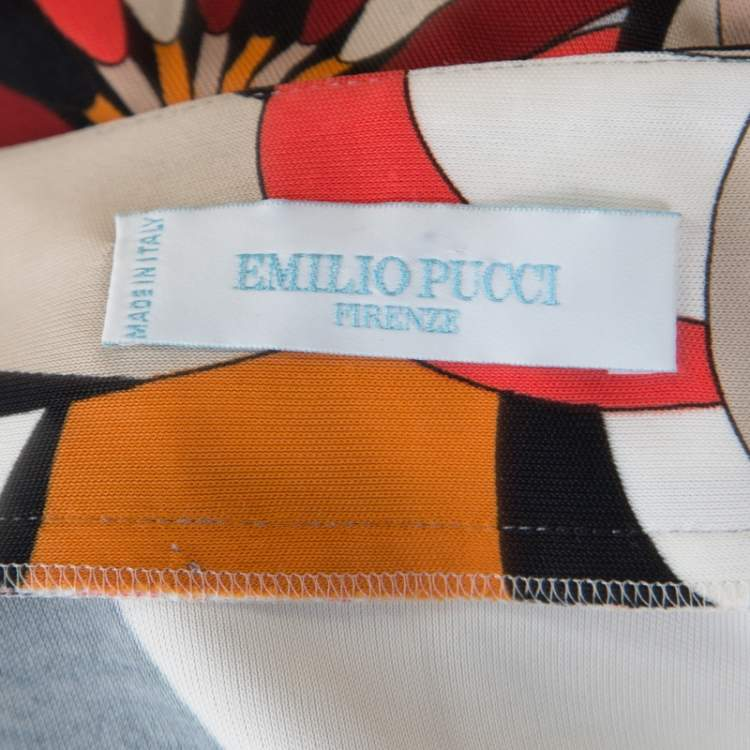 Emilio Pucci Firenze Multicolor Printed Jersey Plunge Neck Peplum Top M