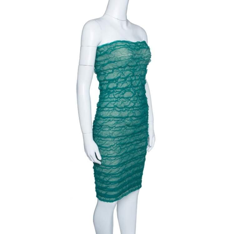 Emporio Armani Green Puckered Mesh Applique Detail Tube Dress M