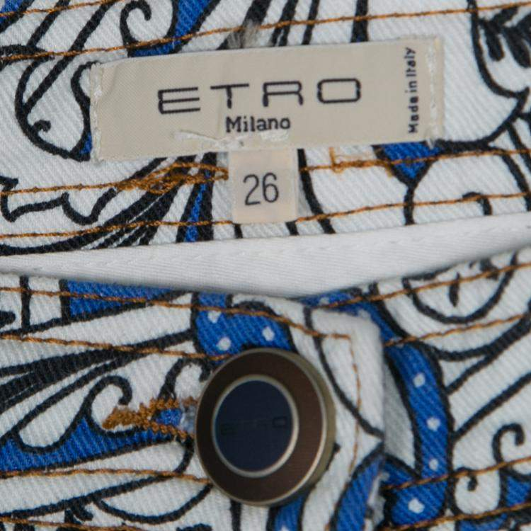 Etro White and Blue Paisley Printed Skinny Denim Jeans S