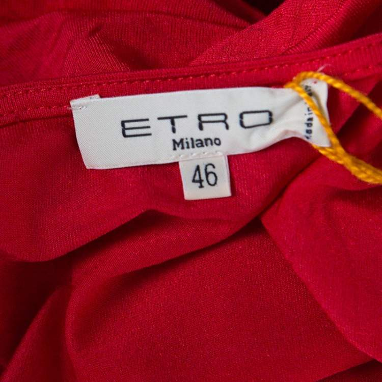 Etro Red Ruched Long Sleeve Top L