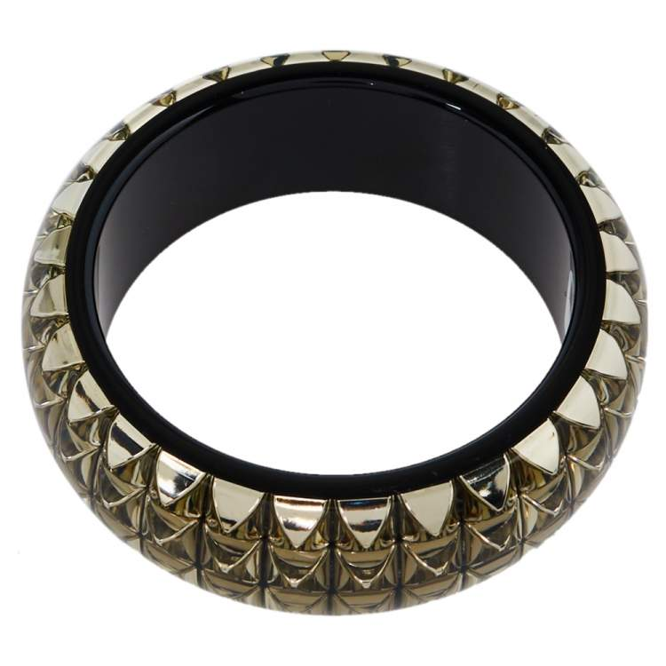 Etro Black & Clear Resin Stud Inlay Wide Bangle Bracelet