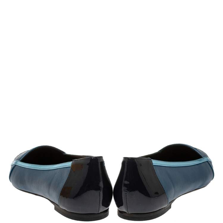 Fendi Blue Patent Leather And Leather Pointed Toe Ballerina Flats Size 38.5