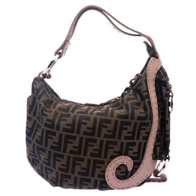 Fendi Tobacco/Beige Zucca Canvas and Leather Crystal Embellished Oyster Hobo