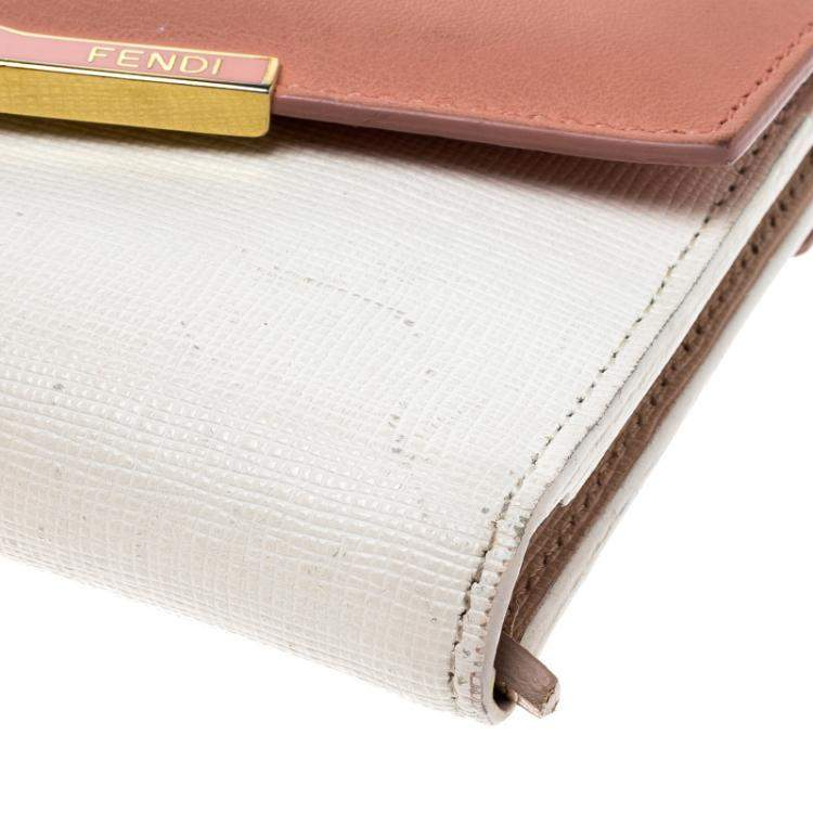 Fendi White/Peach Leather Small 2Jours Wallet