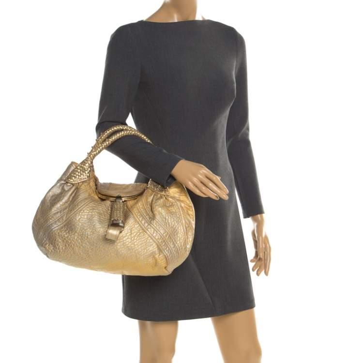 Fendi Gold Holographic Textured Leather Spy Bag