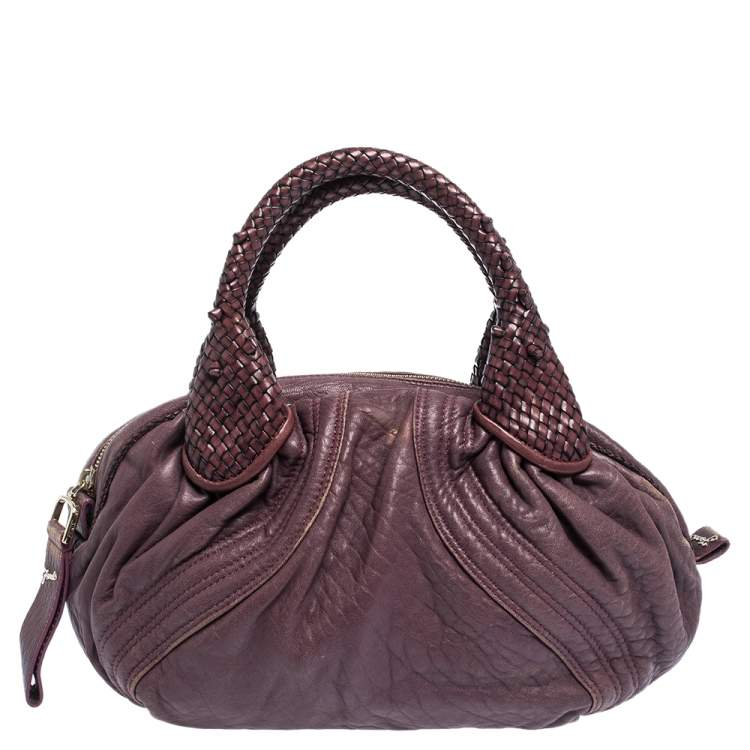 Fendi Purple Leather Mini Spy Hobo