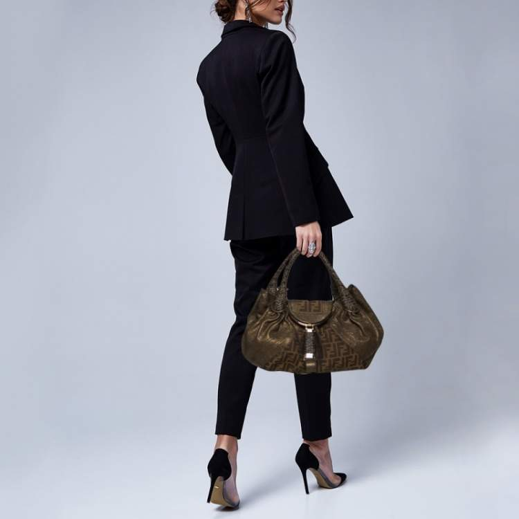 Fendi Tobacco/Metallic Zucca Canvas and Leather Spy Bag