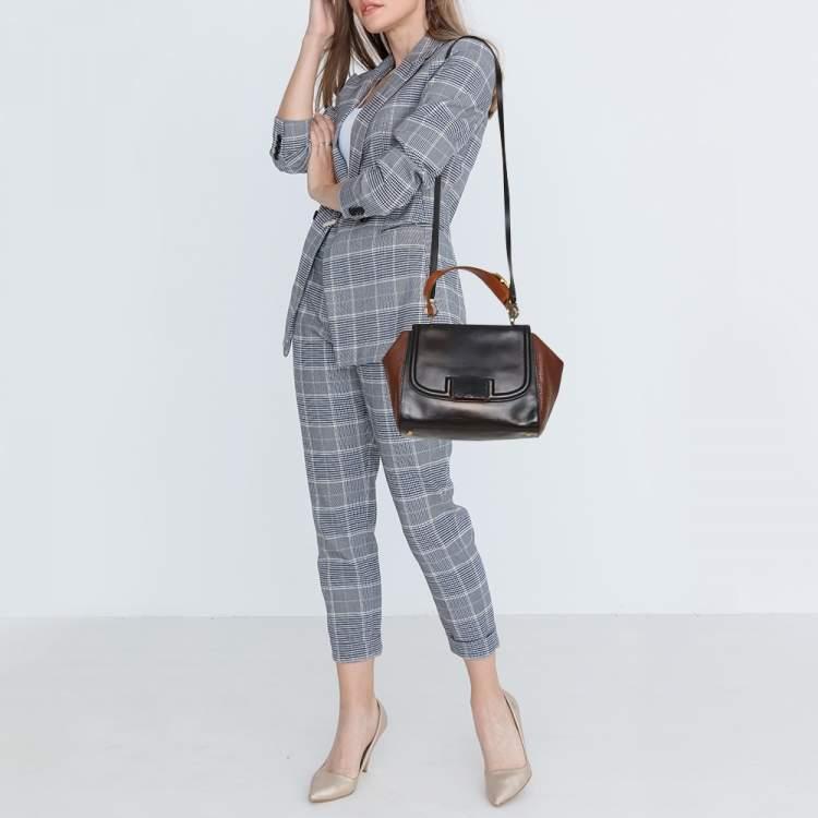 Fendi Black/Brown Leather Silvana Top Handle Bag