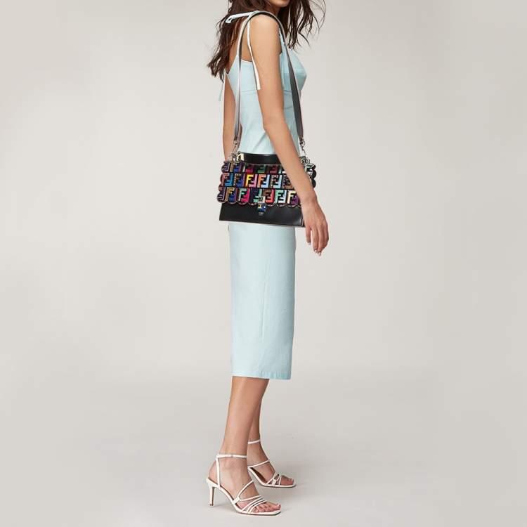 Fendi Multicolor Leather Zucca Embossed Kan I Top Handle Bag