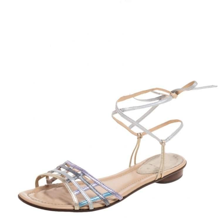 Fendi Metallic Multicolor Leather Ankle Wrap Flat Sandals Size 41