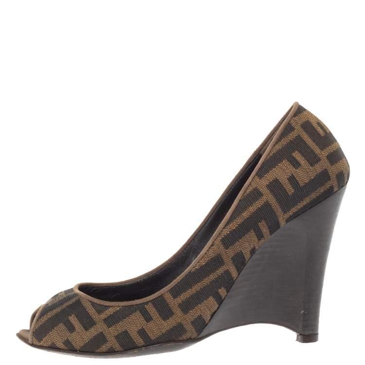 Fendi Brown Zucca Canvas Peep Toe Wedge Pumps Size 38.5