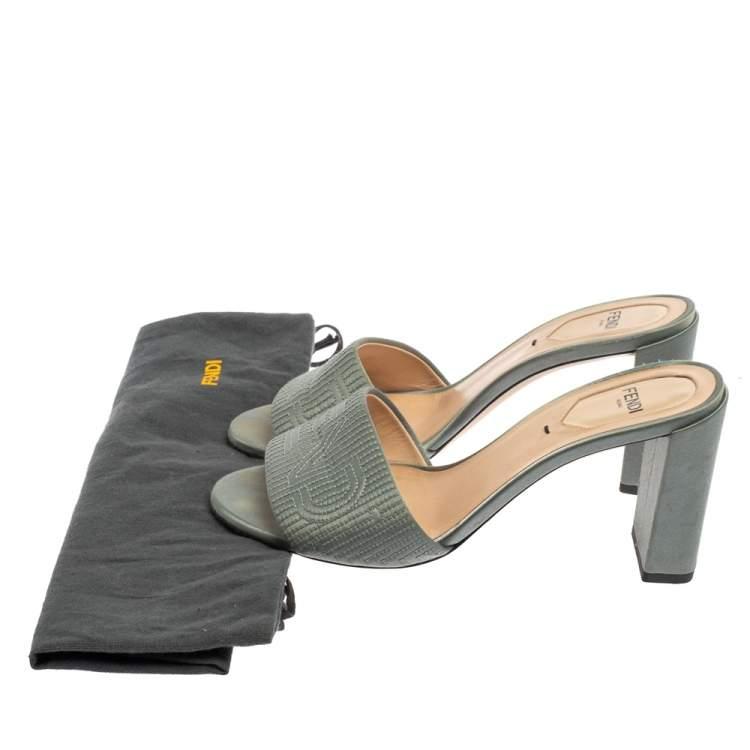 Fendi Grey Satin Logo Embroidered Block Heel Slides Size 37