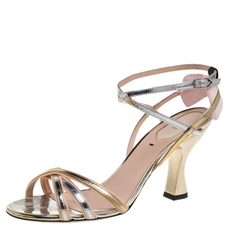 Fendi Metallic Silver/Gold Leather Strappy Sandals Size 37.5