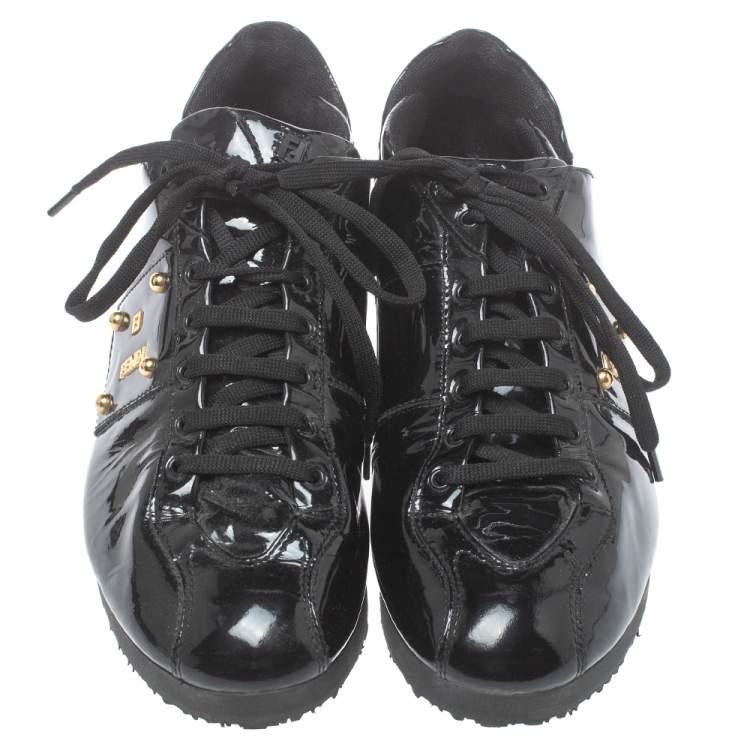 حذاء رياضى فندى منخفض من أعلى جلد لامع أسود مقاس 39.5