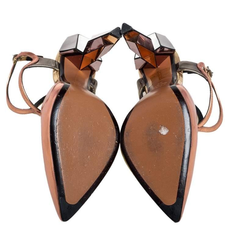 Fendi Two Tone Metallic Leather T Strap Sandals Size 38