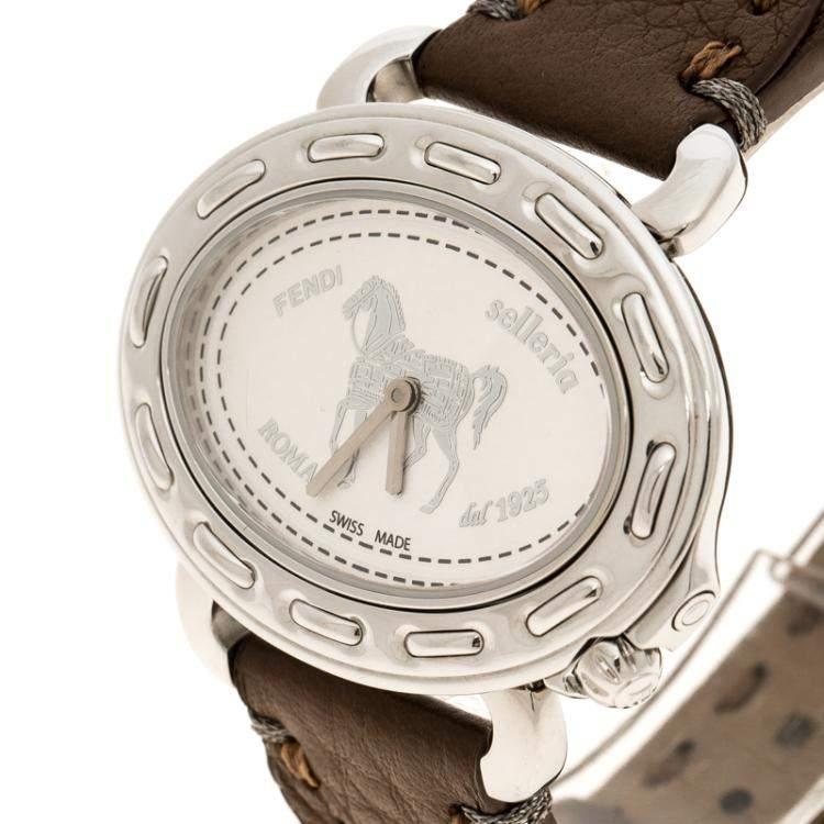 Fendi White Stainless Steel Selleria F83936DCH Women's Wristwatch 40 mm