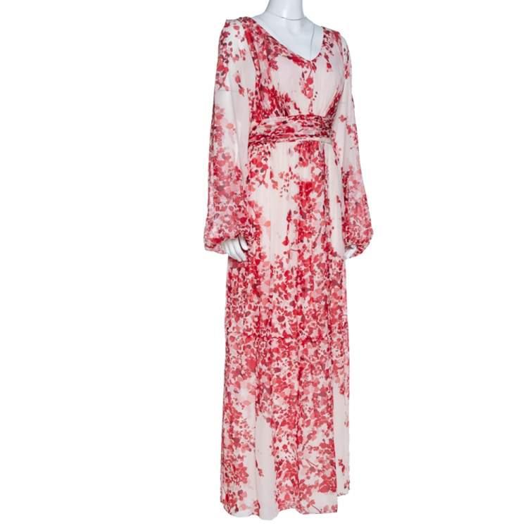 Giambattista Valli Red Abstract Floral Print Crepe Maxi Dress L