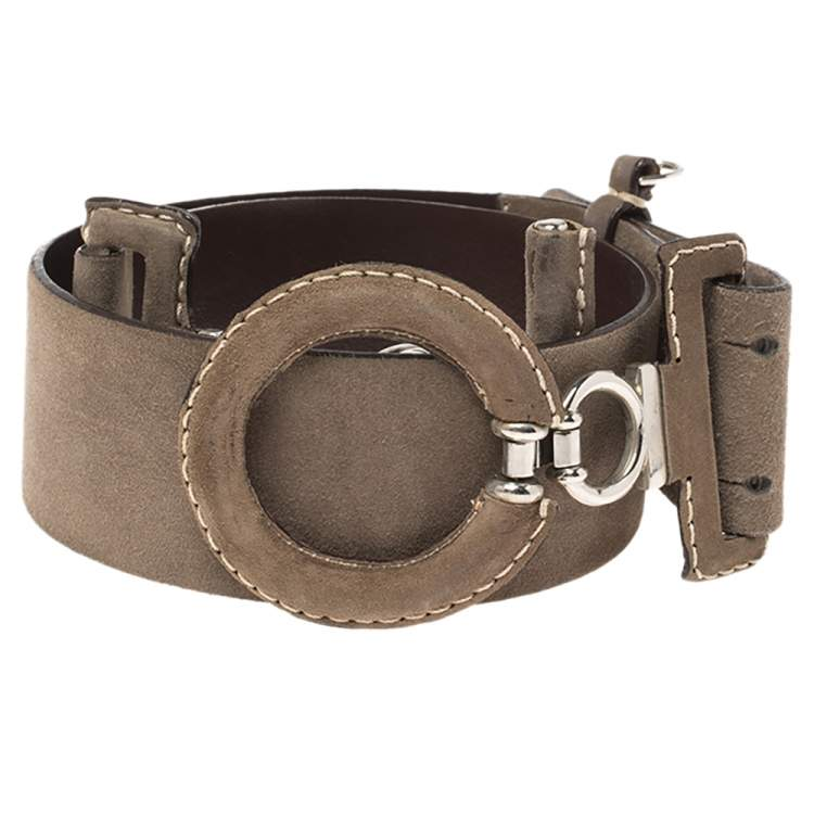Gianfranco Ferre Brown Suede Wide Belt Size 85 CM