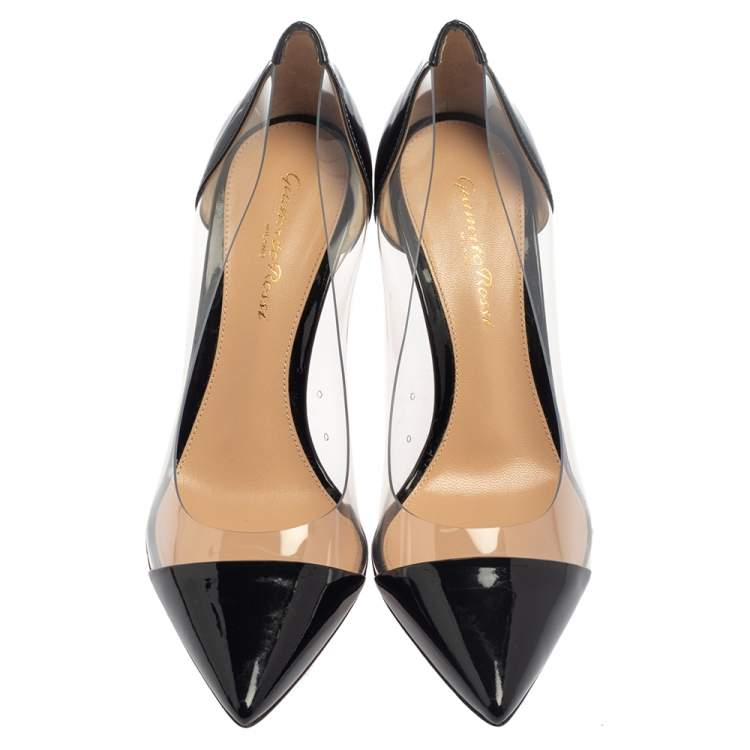 Gianvito Rossi Black Patent Leather and PVC Plexi Pointed Toe Pumps Size 37