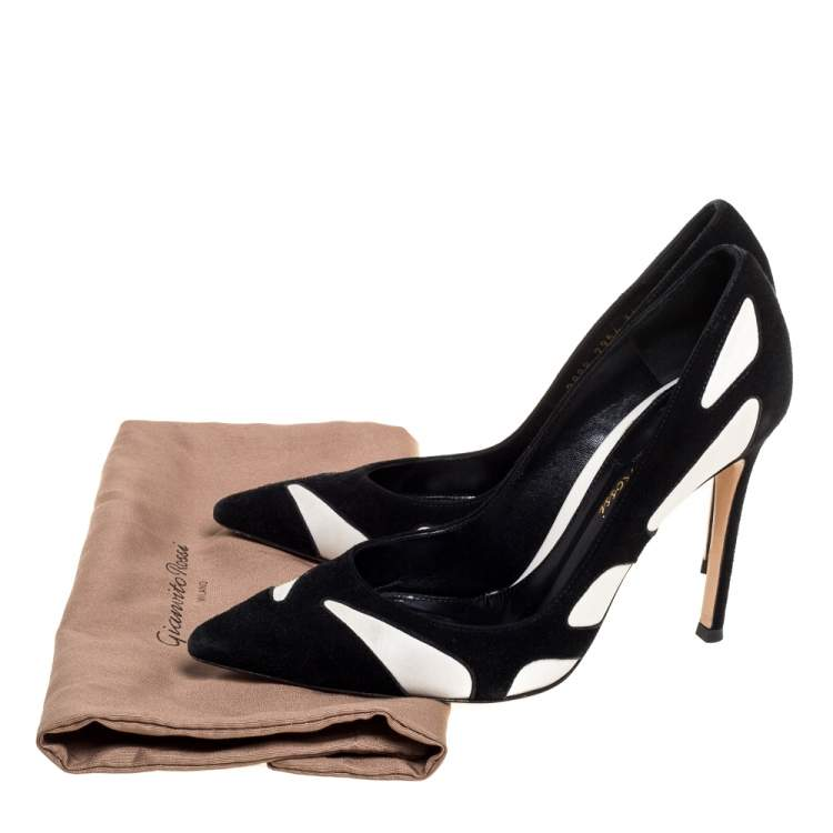 Gianvito Rossi Black/White Suede and Leather Cutout Pumps Size 36