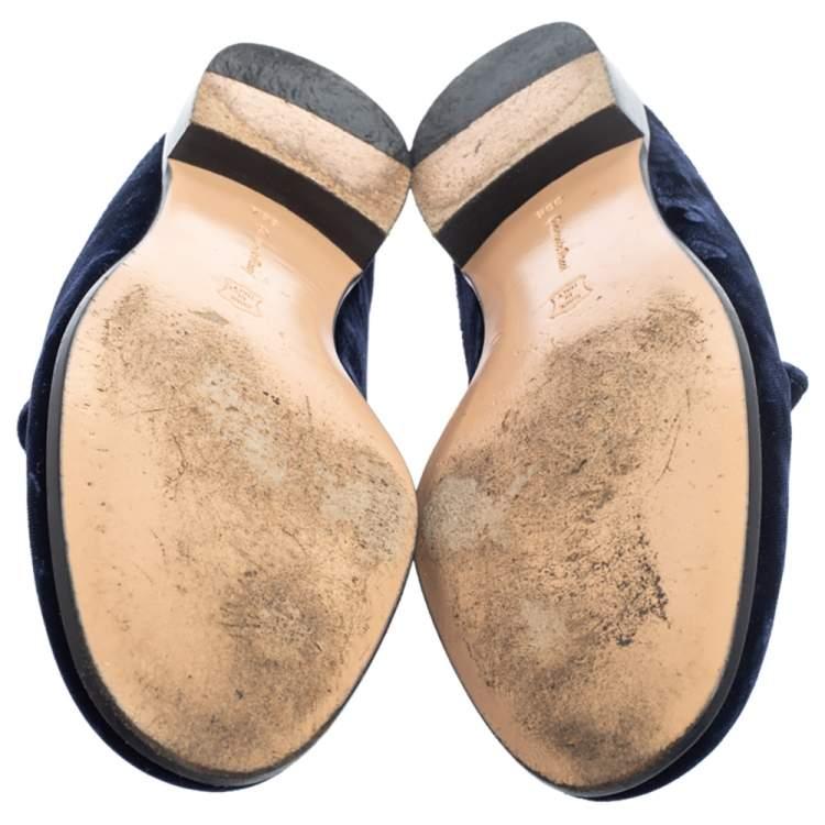 Gianvito Rossi Blue Velvet Palau Slip On Mules Size 36.5