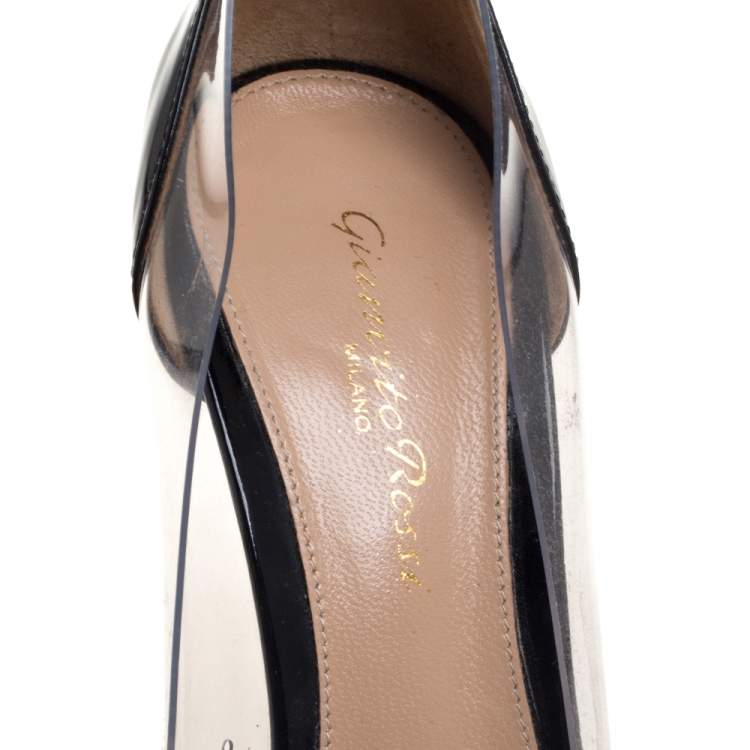 Gianvito Rossi Black/Cream Patent Leather And PVC Plexi  Pumps Size 37