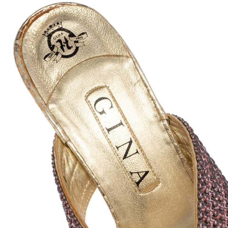 Gina Pink Crystal Embellished Leather Thong Slide Sandals Size 40